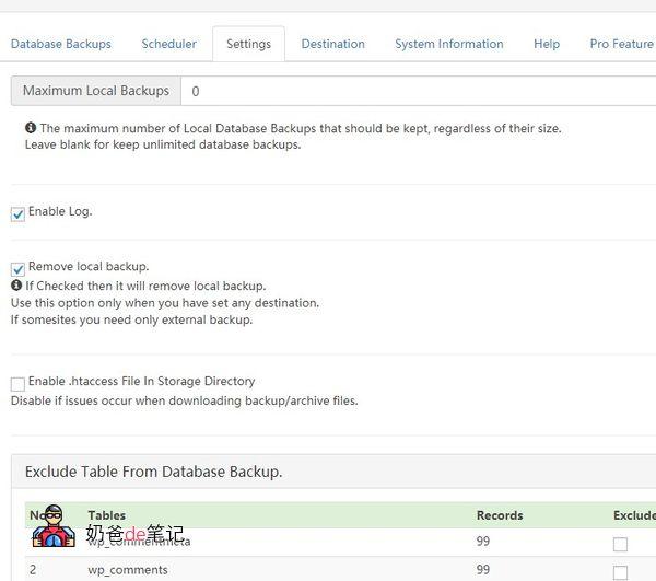 WP Database Backup设置界面
