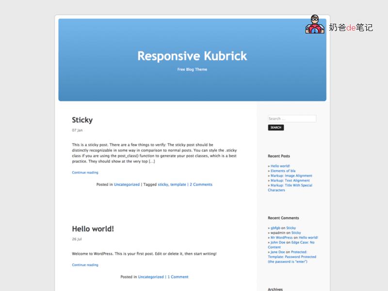 Responsive Kubrick主题